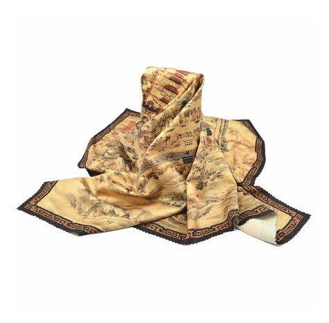 絲巾圍巾 中國風北京城古北京 手繪地圖絲綢圍巾中國風特色伴手禮物_☆找好物FINDGOODS☆