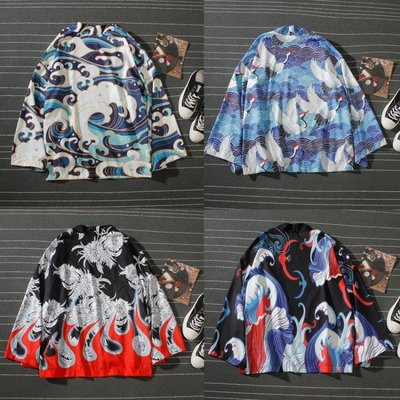 日式開襟寬鬆外套薄海浪印花道袍和服男 仙氣襯衫ulzzang防曬外套