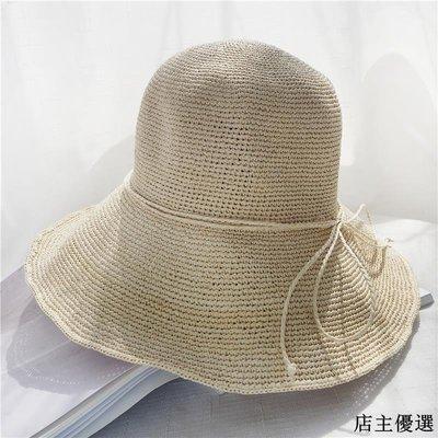 夏季可折疊遮陽帽蝴蝶結草帽女夏天海邊沙灘帽子出游百搭防曬盆帽