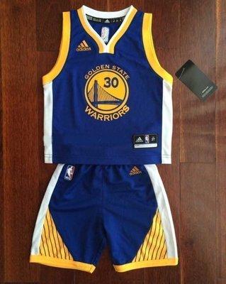 正品美版 Adidas NBA 金州 勇士隊 藍色 上衣+褲子 球衣背心 青年S 青年M 青年L   Curry