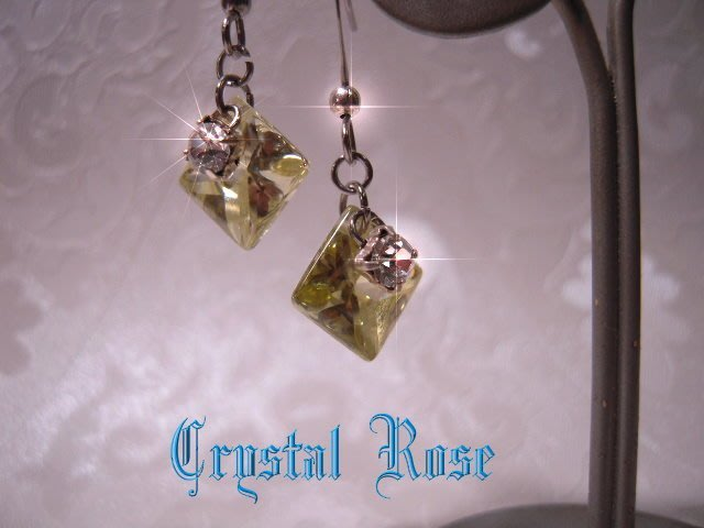 ※水晶玫瑰※斯里蘭卡頂級菱型鋯石 耳環(AA608)~僅此一對