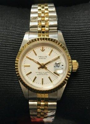 【神梭鐘錶】TELUX WATCH 瑞士自動上鍊eta2671機蕊勞力士款高級10金長刻劃白面五珠中金女妝機械腕錶