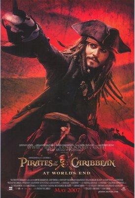 神鬼奇航3:世界的盡頭-Pirates of the Caribbean: At World's End(2007)(有撕痕約五公分)原版電影海報