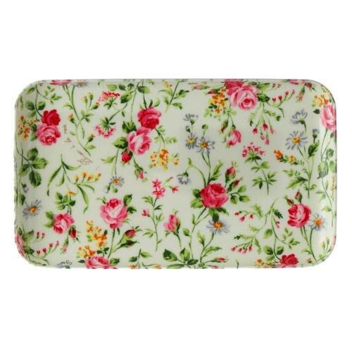 ~~凡爾賽生活精品~~全新日本進口白底粉紅色玫瑰花園造型小托盤.點心盤~日本製