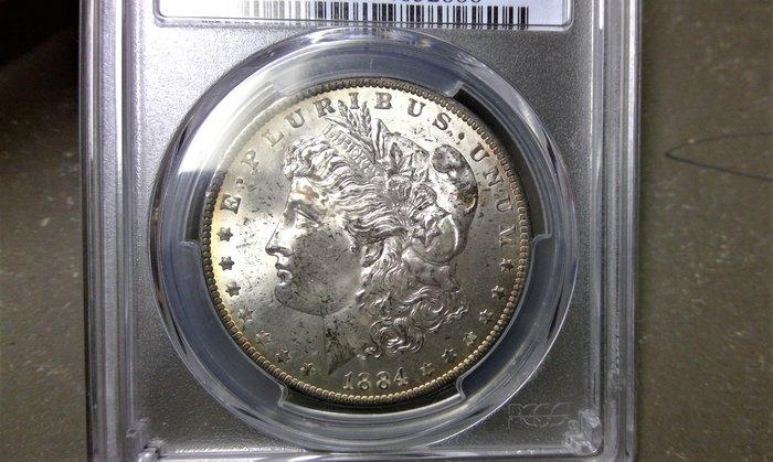 千手集藏§ PCGS 金盾 MS-63 美國摩根銀1美元 one dollar 1884年O記 強銀光美幣