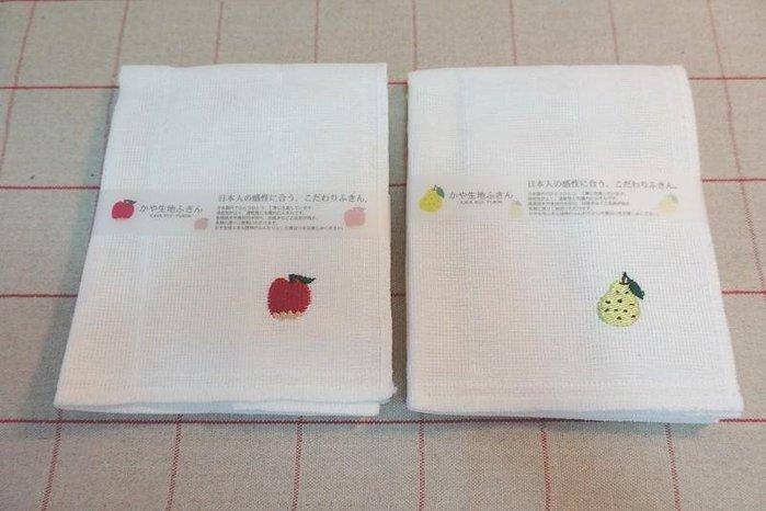 《散步生活雜貨-廚房散步系列》日本製 kaya 生地 敷巾 廚房用抹布 蘋果&西洋梨 兩款一組