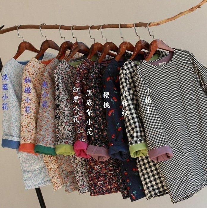 (老銀屋)冬裝圓領簡約鋪棉格紋/碎花復古棉襖上衣