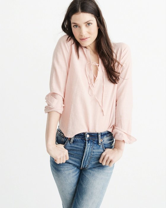 。simple。美國 Abercrombie & Fitch A&F AF 女生 立領襯衫 綁帶 淺粉色 XS號