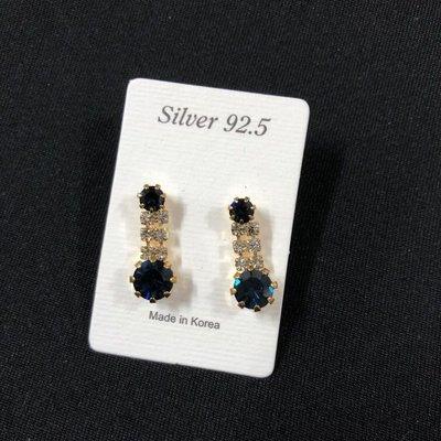 韓國閃石耳環  寶藍色 Bling Bling Earrings  $68