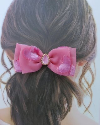 檸檬手作髮飾  進口絨愛心絲帶寶石蝴蝶結髮夾/髮束/髮箍