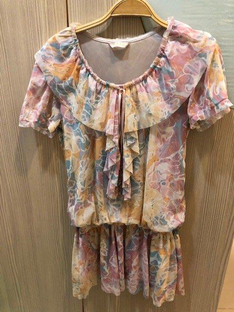小花別針、專櫃【0918】粉色雪紡連身裙洋裝