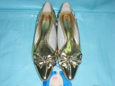 ☆甜甜妞妞小舖 ☆正品  Diana -DA .0108  全新金色蝴蝶結---招財及好運尖頭低跟包鞋---25號