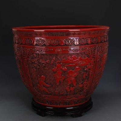 ㊣姥姥的寶藏㊣ 大清乾隆紅釉雕刻浮雕嬰戲紋瓷缸  官窯仿古瓷器古玩古董收藏品