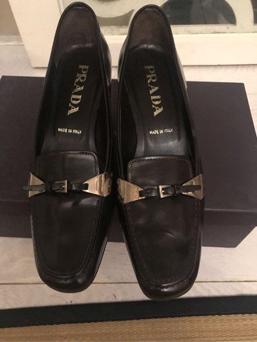 正品二手真皮prada女鞋,金屬扣環,黑色36.5