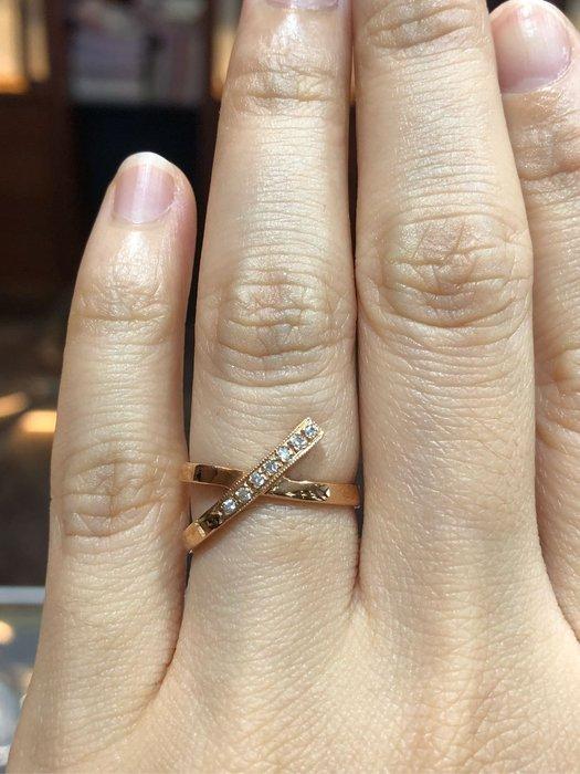 天然鑽石造型線戒,出清商品4980,只有一個,玫瑰K金顏色超漂亮,國際圍10號