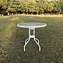 [兄弟牌休閒傢俱] 80cm玻璃庭院圓桌- 白色5m...