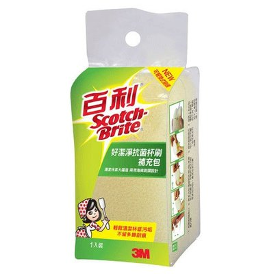夏天ㄉ店【3M百利】888-10 好潔淨抗菌杯刷補充海綿(1入)