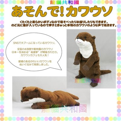 ※龍貓共和國※日本正版《fluffies超療癒 擬真 海底總動員 水獺寶寶 站姿 抱枕娃娃 玩偶 布偶36公分》生日禮物