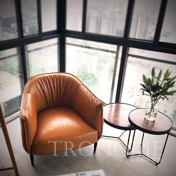 【拓家工業風家具】抓皺皮革造型扶手沙發/美式復古餐椅吧台椅LOFT咖啡店民宿服飾店酒吧接待椅單人雙人三人沙發單人椅主人椅