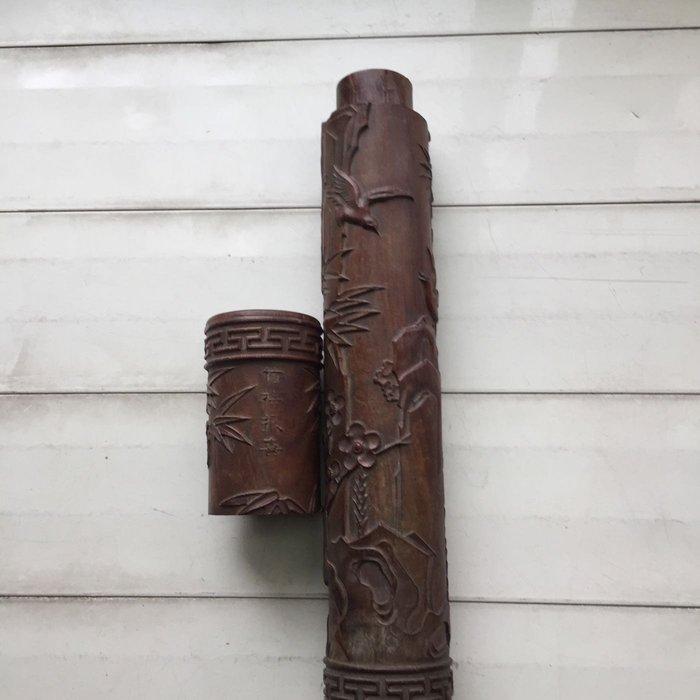 老件硬木紫檀雕刻藝術香筒竹梅報喜