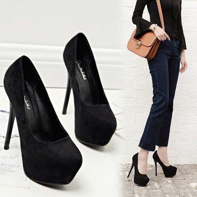 YANGS木易夜店超高跟鞋新款性感單鞋 防水臺14cm黑色淺口細跟鞋子歐美杏色