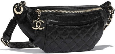 Chanel A57832 Chanel Bi Quilted Waist Bag 小牛皮鍊帶腰包 黑