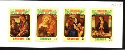 O(∩_∩)O~格瑞那達新票---1974年---耶穌名畫---4枚---外票N005