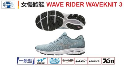 小黑體育用品-MIZUNO美津濃WAVE RIDER WAVEKNIT 3女性高緩衝慢跑/休閒鞋(J1GD193139)