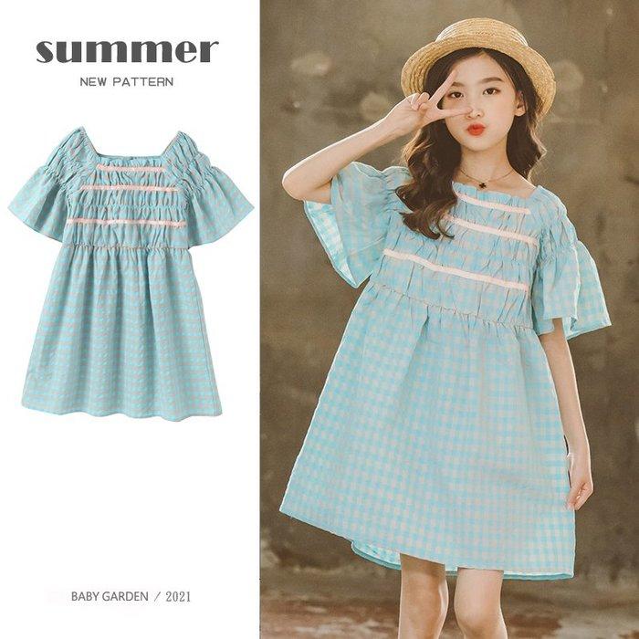【TF5603】✿寶貝花園✿ 2021夏季新品 女童 中大童 格子短袖娃娃裙 公主裙 連衣裙 洋裝