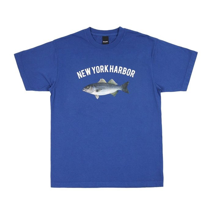 { POISON } ONLY NY NEW YORK HARBOR T-SHIRT 銀花鱸魚圖像短TEE 港口藍