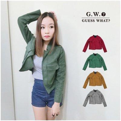 GW 麂皮 短版 長袖 軍外套 高質绒皮  皮衣 帥氣百搭 多色 軍綠 酒紅 駝色 灰色