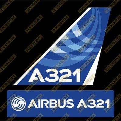 AIRBUS 空中巴士 A321 Logo 出廠塗裝 垂直尾翼 3M防水貼紙 尺寸上63x86mm 下 23x90mm