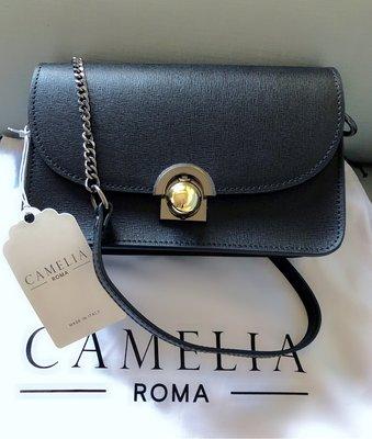 義大利 Camelia Roma 黑色 真皮 金釦 古董銀(槍色)鍊 包 小香 山茶花 盒 歐美 ig 網紅包