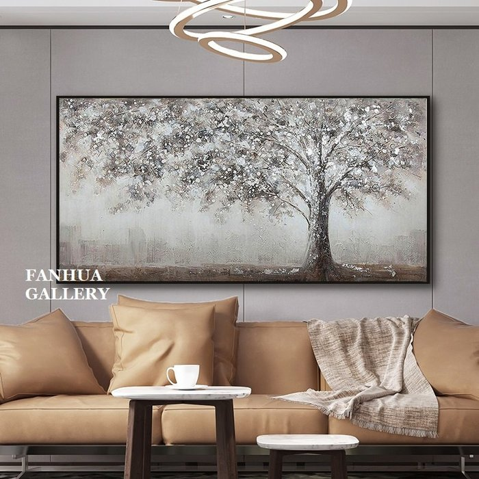 C - R - A - Z - Y - T - O - W - N 純手繪立體筆觸油畫灰色調抽象發財樹掛畫橫幅手繪裝飾畫商空美學空間設計師款高檔手繪油畫掛畫
