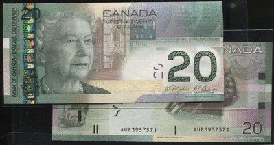 CANADA (加拿大紙幣), P103  , 20 Dollars , 2010 , 品相全新UNC