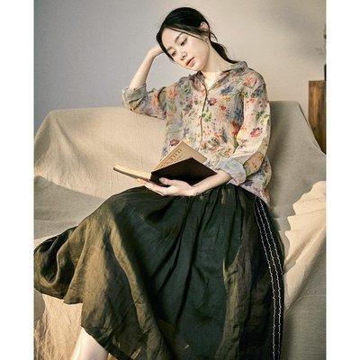 ||一品著衣|| 愜意自在夏季輕薄透氣棉麻風格半身裙設計感氣質拼接墨綠亞麻長裙子