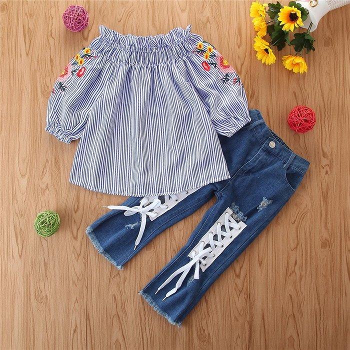 •*~ 辣媽咪衣飾小舖 ~*•❤童裝系列❤Y930992韓版兒童夏款甜美氣質條紋上衣+牛仔褲二件套