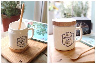 日本製.復古DRINKING JAR立體浮雕加蓋把手杯儲存杯(藍字款)