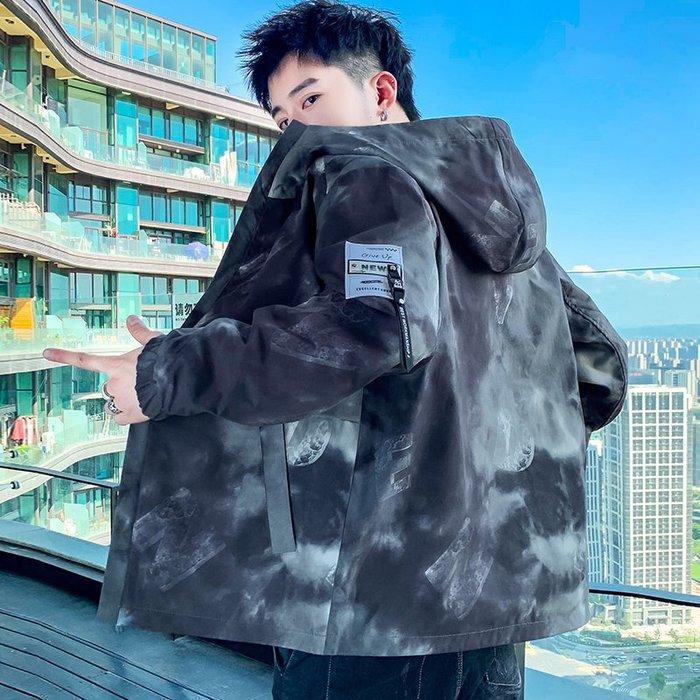 拉風閣 春秋季雙面穿印花夾克 男士寬松衣服韓版上衣 帥氣學生外套 迷彩外套 2020