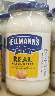 英國 Hellmann's 美乃滋(Real 經典原味) 400g 效期2020/11 REAL mayonnaise 單瓶價 #青abi~afi,清無