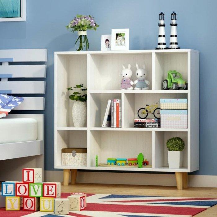 簡易書架簡約現代置物架落地桌上櫃子學生創意格子櫃自由組合書櫃--初服