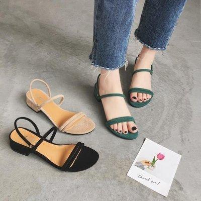 ZIHOPE 2019新款韓版CHIC中跟一字帶涼鞋女羅馬復古絨面簡約百搭粗跟女鞋ZI812