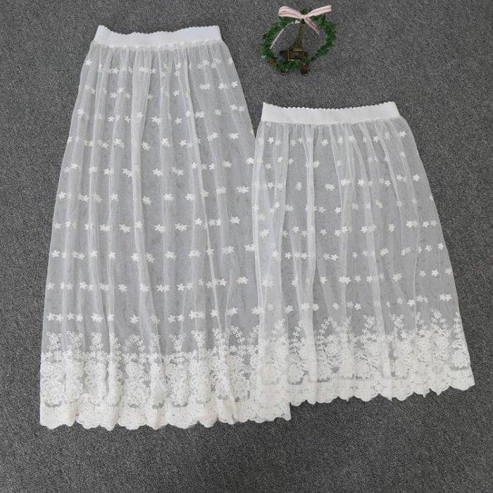 襯裙 蕾絲半身裙單層透明網紗繡花