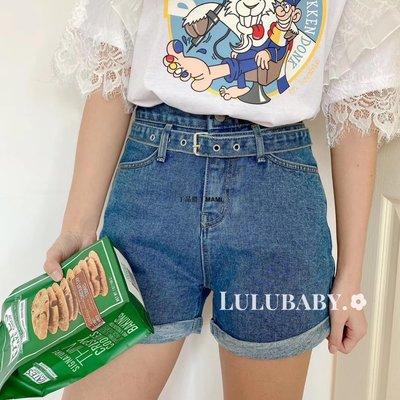 丁品胖丁MAMILulubaby韓國代購lovable腰帶高腰顯瘦卷邊牛仔短褲熱褲女20春新