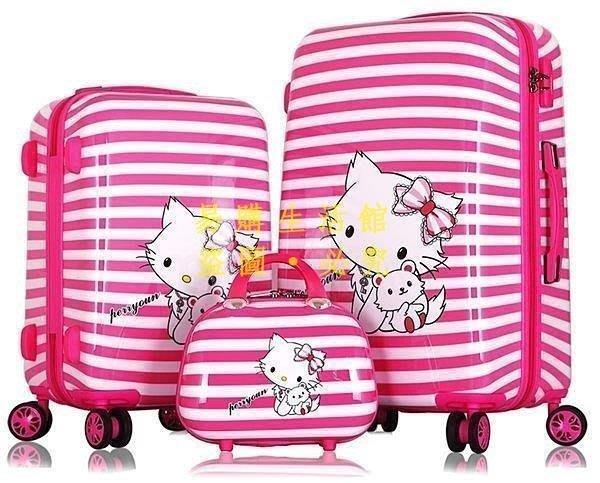 [王哥廠家直销]hello kitty拉桿箱韓旅行20寸 24寸登機箱女行李箱 凱蒂貓粉色條紋箱 黑色條紋箱LeGou_3
