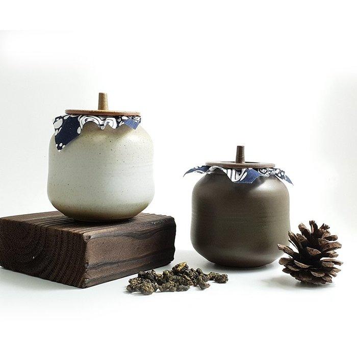 【茶嶺古道】花布小陶罐-瓜型 / 茶倉 粗陶 茶甕 茶葉罐 普洱茶罐 隨身 外出罐