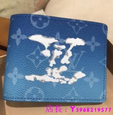 艾琳 二手正品 近全新LV 雲朵 logo藍天白雲折疊 SLENDER 錢包 短夾M69742