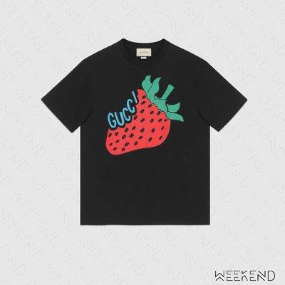 【WEEKEND】 GUCCI 印圖 草莓 文字 短袖 T恤 黑色 565806 19春夏