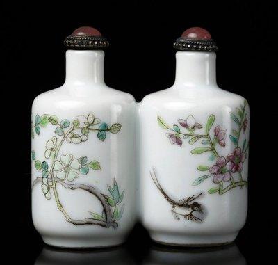清晚期 琺琅彩 雅制款花鳥雙連鼻煙壺