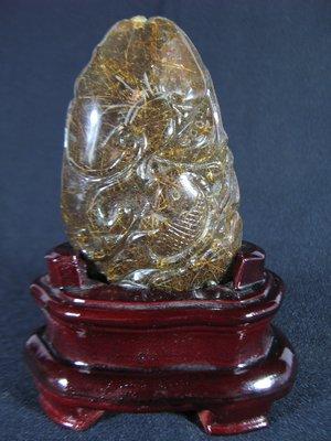 [銀九藝] 茶晶水晶 滿絲 鈦晶 滿雕 鯉魚 靈芝如意 錢幣 雕件 風水 發財 擺件(3)